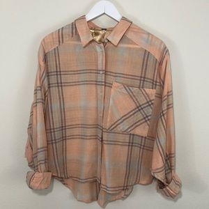 Free People plaid dolman sleeved button down top